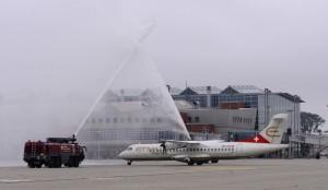 Willkommensdusche für Etihad Regional am Flughafen Dresden International1.09.2014